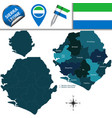 map of sierra leone with named districts vector image vector image