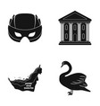 mask building and other web icon in black style vector image vector image