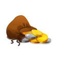 old textile sack purse with gold coins vector image vector image