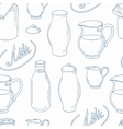 Outline seamless pattern with milk objects vector image vector image