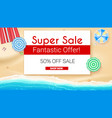 poster of summer sales on seashore backdrop get vector image vector image