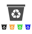 recycle bin flat icon vector image vector image