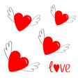 red heart set with wings cute cartoon contour vector image vector image