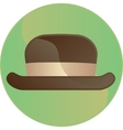Retro brown hat symbol button vector image