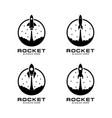 rocket launch set logo template vector image vector image