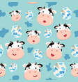 seamless pattern cow and plain milk carton blue vector image vector image
