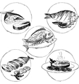 set hand drawn fish dishes vector image vector image