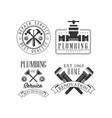 set monochrome logos for repairing companies vector image