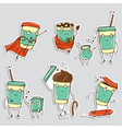 set of coffee characters emoticons stickers vector image