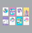 set of creative universal floral cards in trendy vector image vector image