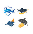 shark money business shield logo design set vector image vector image