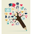 Social media networks pencil tree vector image