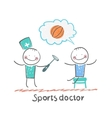 Sports doctor checking the reflexes of an athlete vector image vector image