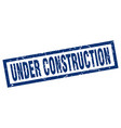 square grunge blue under construction stamp vector image vector image