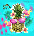 summer disco party poster design with pineapple vector image