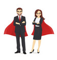 superhero business man and woman vector image
