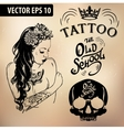 Tattoo girl old school studio skull vector image