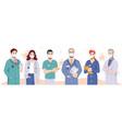 team doctors wearing masks coronavirus disease vector image
