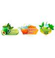 volumetric label set for vegetable juice smoothie vector image vector image