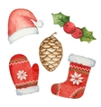 Watercolor set of elements for Christmas vector image