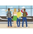 Young people looking airplane parking vector image