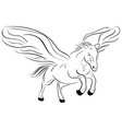 silhouette of a running pegasus sketch vector image