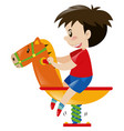 little boy on rocking horse vector image