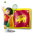 A boy playing tennis in front of the Sri Lanka vector image vector image