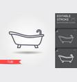 bathtub line icon with editable stroke with vector image vector image