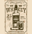 bottle whiskey with glass cigar vintage poster vector image vector image