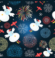 bright festive christmas pattern of flying snowmen vector image