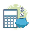 calculator and piggy with coins vector image vector image