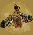 cartoon man in a cowboy hat firing two pistols vector image vector image