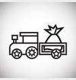 christmas train with gifts thin line on white vector image