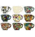 Collection of tea cups with different patterns vector image vector image
