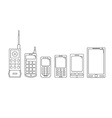 Communication telephone progress Phone evolution vector image vector image