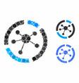 connections diagram mosaic icon circle dots vector image vector image