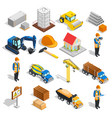 construction isometric elements set vector image vector image