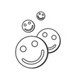 contour icon with the image of tablets with faces vector image vector image