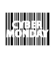 cyber monday inscription bar code style vector image vector image