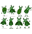 Eight green bugs vector image vector image