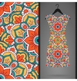 Ethnic floral seamless pattern with dress vector image