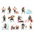 firefighters cartoon set vector image vector image