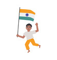flat indian boy kid standing holding national flag vector image vector image