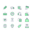 free label line icons vector image vector image