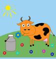 good cartoon cow grazing in a meadow vector image vector image