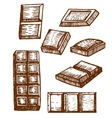 hand drawn chocolate bars vector image vector image