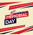 happy memorial day design card flag vector image