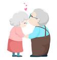 lovely elderly couple kissing vector image