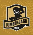 lumberjack with axe logotype vector image